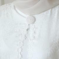 Putih Baju Gamis Brukat Haji 80820 Muslim Agnes Lebaran Busana Wanita