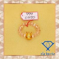 Cincin Batu Putih Charm Kantong Uang Emas Hongkong CH999035000