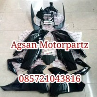 fullset fairing depan ninja 250 rr mono hitam dan headlamp original