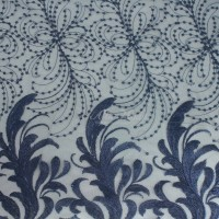 Tulle bordir pinggiran bunga motif bunga navy (Alta Moda)*