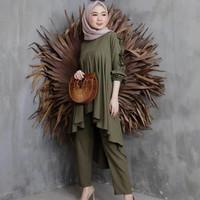[ COD ] Sadewi One Set | Outfit Setelan Baju Muslim Wanita Setelan - Army