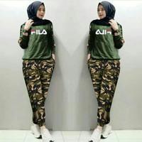 Baju Wanita Pakaian Cewek Fashion Perempuan Setelan Fila Army Fimy