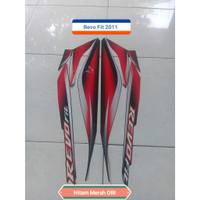 Sticker Striping Lis Motor Honda Revo Fit 2011 Hitam Merah