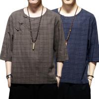 Laki-laki Lengan 3/4 Retro Gaya Cina Tang Blus Kasual Baggy Shirt Hiki
