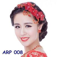 Headpiece Rambut Sanggul Pesta Merah l Aksesoris Rambut Prewed -ARP008