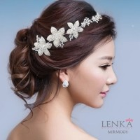 Tiara Sanggul Rambut Pengantin Modern l Aksesoris Bunga Lenka - MRM001