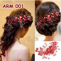 Aksesoris Sanggul Pesta Merah-Hiasan Headpiece Rambut Pengantin-ARM001