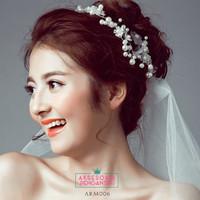 Aksesoris Sanggul Bunga Pesta l Headpiece Putih tiara Pengantin-ARM006