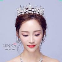 Aksesoris Crown Mahkota Crystal Sanggul Pengantin l Lenka - MRW002