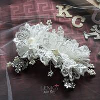 Aksesoris Headpiece Sanggul Rambut Bunga Putih Hairpiece Lenka ARP001
