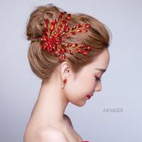 Aksesoris Sanggul Rambut PestalHeadpiece Mutiara Merah Bridal- ARM005