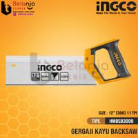 Ingco Back Saw 12 Inch Gergaji Kayu Sudut Presisi Pigura 12 HMBSB3008