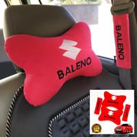 Bantal Mobil Headrest Suzuki Baleno merah Bordir