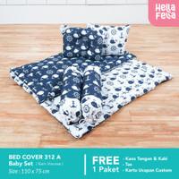 Bedcover Bayi Premium HELLAFELLA Motif WHALE WHITE X WHALE NAVY KADO