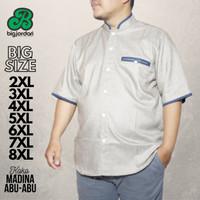baju koko putih madina katun jumbo big size oversize 4L 5L 6L 7L 8L - Abu-abu, XXL