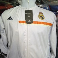 Jaket Real Madrid Putih strip putih orange 2014