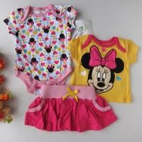 Baju bayi Setelan Baby Girl Disney Minnie Pink Skirt 3in1 ori murah meriah banget