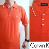 Calvin Klein (CK) Polo Shirt (Blue & Orange)