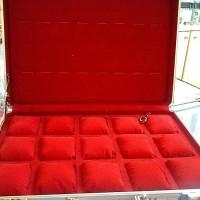 Box / Koper jam tangan Aluminium Bantal isi 15+8 (untuk menyimpan jam tangan & perhiasan)
