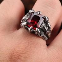 Cincin Pria Cakar Naga Claw Flame Ring Stainless Steel
