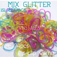 Refill rainbow loom - Mix glitte isi 600pcs free 24pcs s-clip color