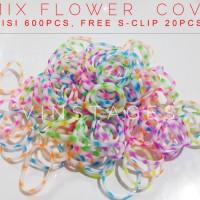 Refill rainbow loom - Mix flower cove isi 600pcs