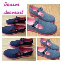 Sepatu docmart jeans denim murah pink high quality