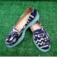 Sepatu docmart slipper tribal navyblue denim murah cantik