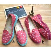 Sepatu docmart polkadot pink cantik murah