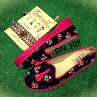 Sepatu Docmart flower lonceng pink motif cantik murah