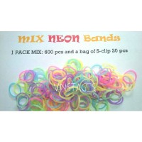 Refill rainbow loom - Mix neon isi 600pcs