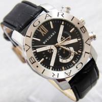 BVLGARI jam tangan pria- analog plat hitam