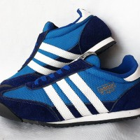 Sepatu Casual Adidas Dragon Biru Strip Putih