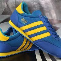 Sepatu Casual Adidas Dragon Biru Strip Kuning