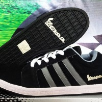 Sepatu Casual Adidas Vespa Hitam Strip Silver