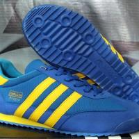 Sepatu Cassual / Running / Olahraga Adidas Dragon Biru Strip Kuning