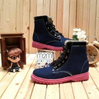 Sepatu Kets Docmart Boot Ankle Denim Dongker Ban Hitam