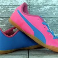 Sepatu futsal Puma Evo Power Pink Biru Anak