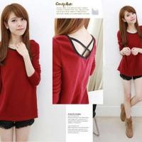 [Red cross FT] pakaian wanita atasan warna merah
