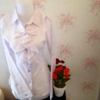 kemeja blus putih wanita kantor renda neci kerah