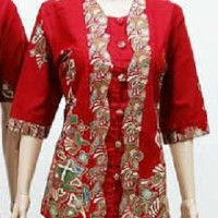 Blouse / Atasan / Baju / Seragam Wanita Batik 1264 Merah