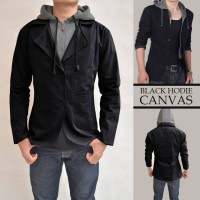 Blazer Hoodie Canvas Black Pria - Blazer Casual, Santai, Semi Formal