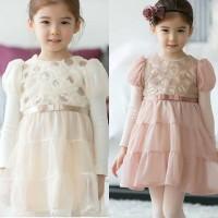BAJU ANAK - SWALLOW PEAK FLOWER PRINCESS DRESS WHITE OR BEIGE