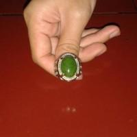 Batu hijau lumut garut (tembus) + ring