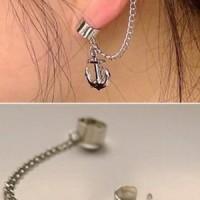 EE0073 - earrings / giwang / anting jepit rantai tanpa tindik jangkar