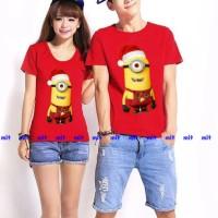 Kaos Couple Lengan Pendek / Baju Pasangan minion merah