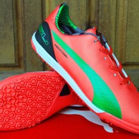 Sepatu Futsal Puma evoSPEED Merah Hijau GO(bola,futsal,olahraga,nike