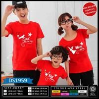 T-shirt Kaos Natal merry christmas (dad ,mom and kids )
