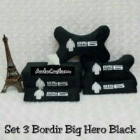 Bantal Mobil 3 in 1 Bordir BIG HERO 6 Black Baymax