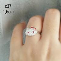 cincin hello kitty silver 925 c37 cubic zirconia lapis emas putih